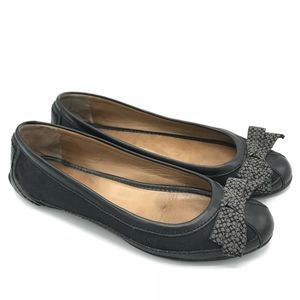 Coach Saundra Ballet Flats 7.5 Leather Black Bow
